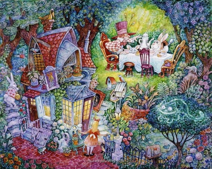 Alice in wonderland wall mural studio inspirations for Alice in wonderland mural