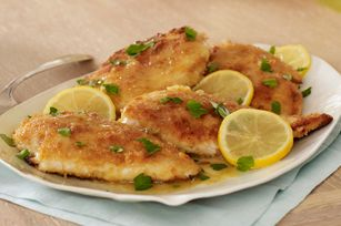Easy Lemon-Chicken Piccata recipe: way too much lemon. And if you don't turn down the heat and cook the chicken longer than recommended in this recipe it will burn. I don't think I'll make this again.