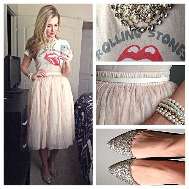 Band tee, statement necklace, tulle skirt, glitter flats, pearls, arm party. #style #outfitTulle skirt inspiration- Karla Reed's instagram