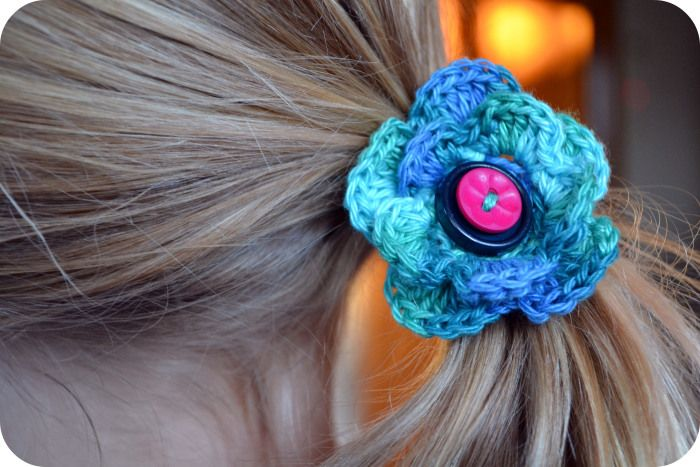 Crochet flower hair tie Crochet for Babies & Children Pinterest