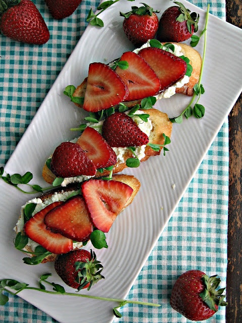 Crostini With Pea Shoots And Strawberries Recipe — Dishmaps