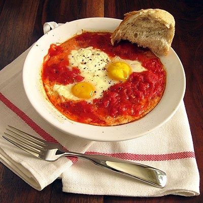Baked Eggs In Tomato Sauce with Ricotta Cheese - I had this at a ...