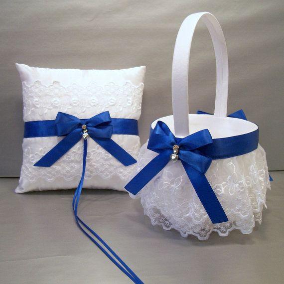 Wedding Bridal Flower Girl Basket And Ring Bearer Pillow Set Royal Bl