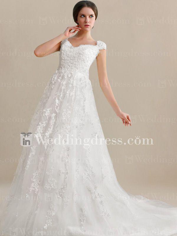 Unique Wedding Dresses With Sleeves : Unique wedding dress with cap sleeves de i absolutely love this one