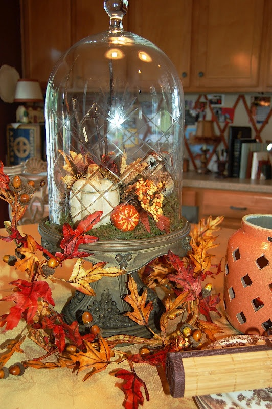 cloche with autumn decor fall fall fall pinterest