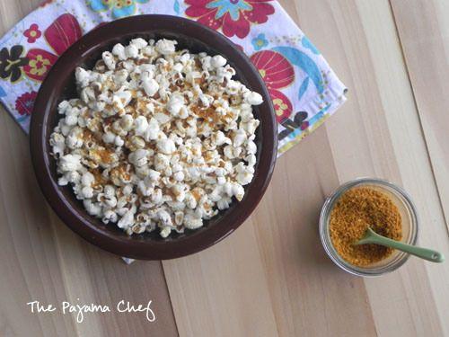 Coconut Curry Popcorn   thepajamachef.com