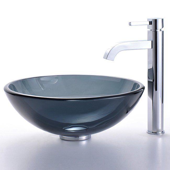 ... GV-104 Black Vessel Ramus Faucet Combo Glass Sink - Fixture Universe