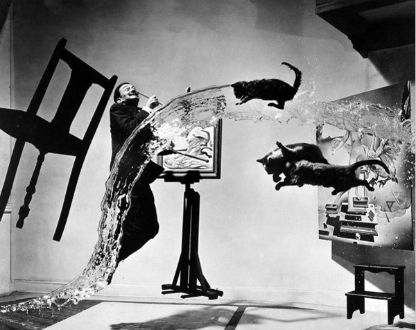 found in a series of famous people jumping. all black n white, found this one very funny. that guy Dali, how was his brain really?