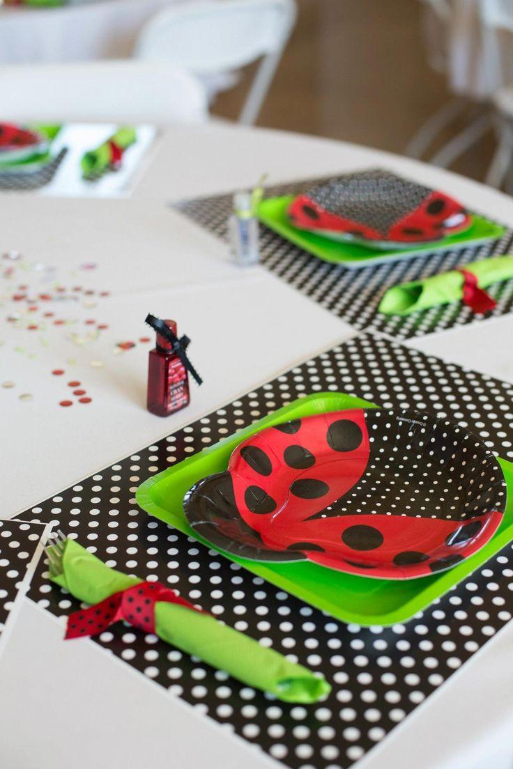 ladybug themed baby shower place settings