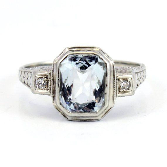 Antique aquamarine engagement rings : Antique aquamarine engagement ring k art deco filigree s