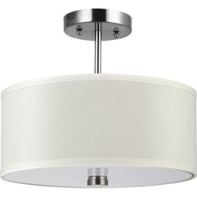 Sea Gull Lighting Dayna Shade Pendants 14 In W Brushed Nickel Fabric