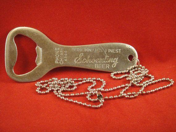 vintage 1950s schoenling beer church key bottle opener necklace cinc. Black Bedroom Furniture Sets. Home Design Ideas