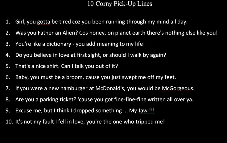Corny Lines To Say To A Girl