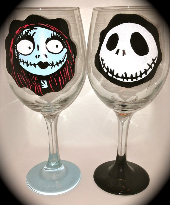 Nightmare Before Christmas Wine Glasses - Jack and Sally - Hand-paint ...