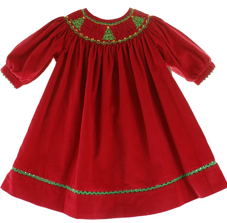 Childrens boutique girls red corduroy smocked christmas dress