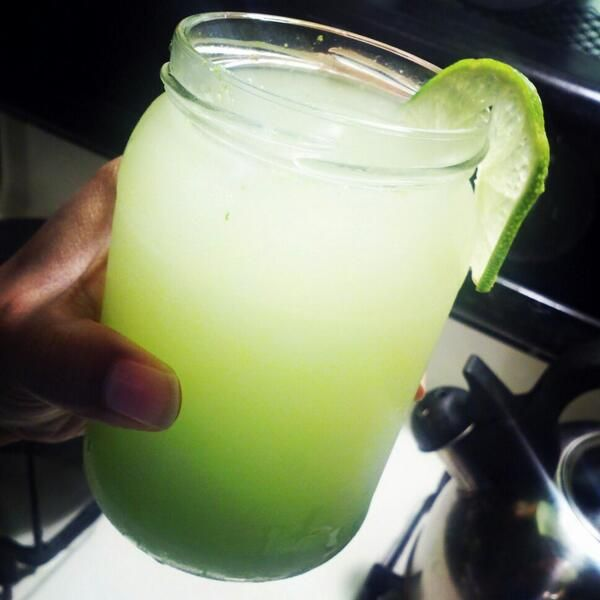 ... kiwi's one lime, chunk of ginger root, added agave nectar, lime zest