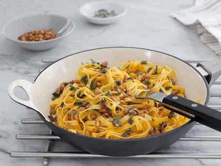 Sage and brown butter fettuccine w/  pine  nuts via Huffington Post