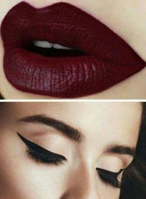 Dark red lipstick. | Makeup | Pinterest