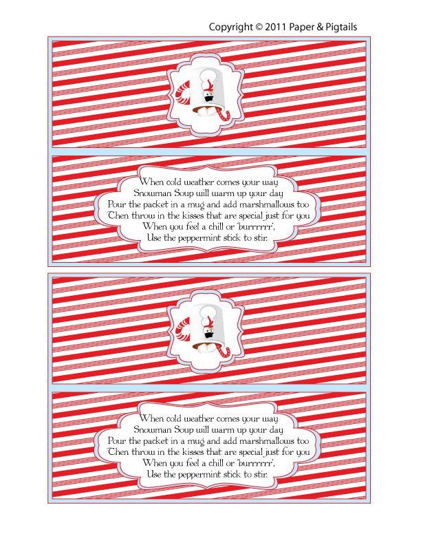 Snowman Soup Bag Topper printable | Christmas/Winter Printables | Pi ...