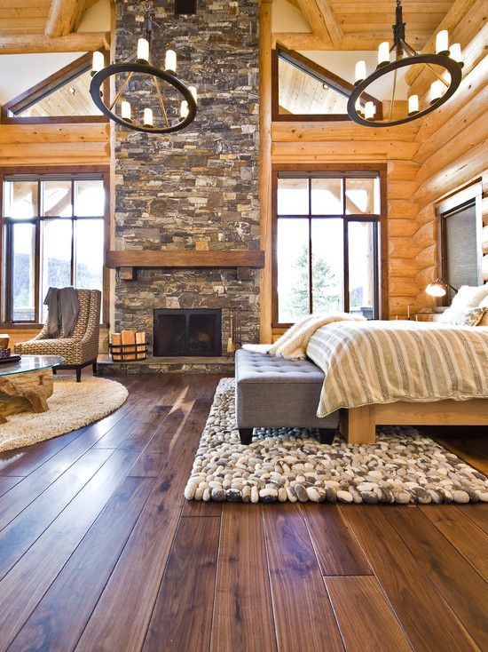 Gorgeous Master Bedroom, Amazing wood Ceilings & walls, Beautiful Stone Fireplace, lovely wood flooring. Gorgeous Windows & decor ... <3 the chandeliers