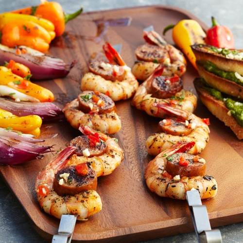 Garlic And Herb Shrimp Skewers Recipe — Dishmaps