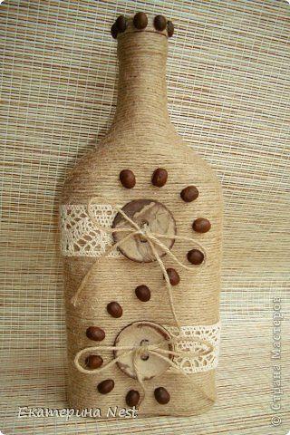 Декор своими руками бутылок шпагат фото
