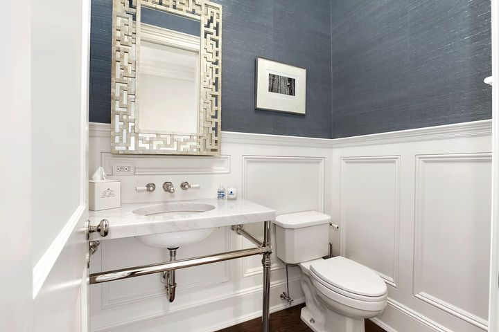 Pin by centsational girl on bathrooms pinterest for Blue bathroom wallpaper