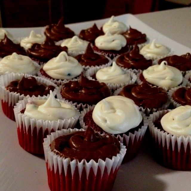 Mini red velvet cupcakes with rainbow chip frosting and chocolate chip ...