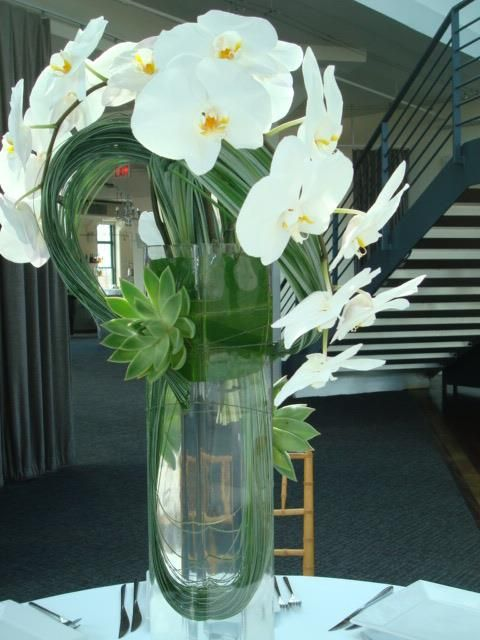 Modern phalaenopsis orchid centerpiece floral