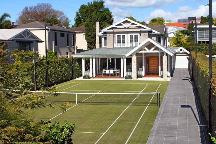 Backyard Getaways Brisbane : Tennis court AS the front yard! Stunning house in Clayfield Brisbane