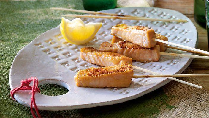 Miso-glazed salmon skewers recipe : SBS Food by Ross Dobson