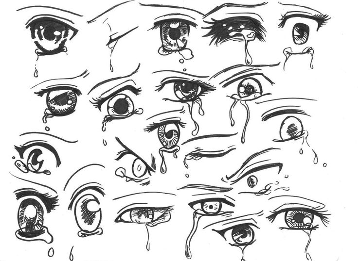 Draw Anime Eyes Crying Sketch Coloring Page