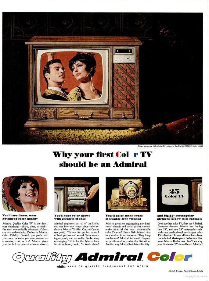 Admiral Color TV (1966) | 1966 | Pinterest