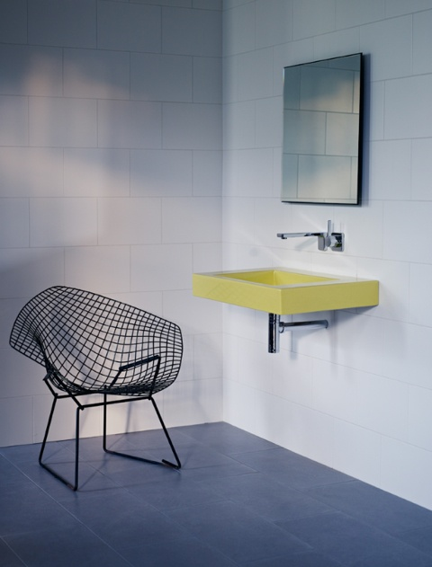 Super slick bathroom with yellow sink Work images Pinterest