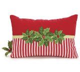 Holly and Red Striped Decorative Pillow Holiday Party Collection