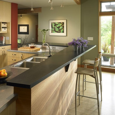 Kitchen Counter Remodel : Raised Countertop Design with paperstone bar