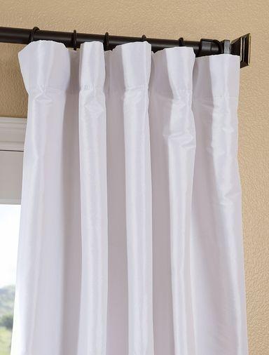 White Faux Silk Taffeta Curtain | Master Bedroom Coastal Chic | Pinte ...