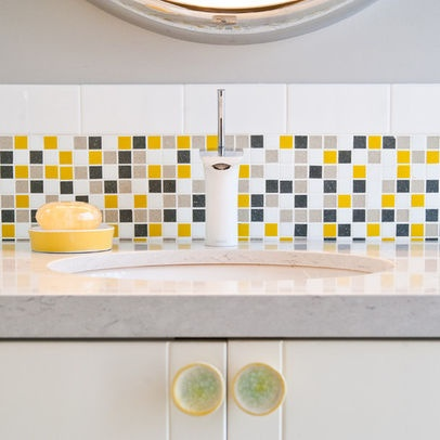 grey yellow and white backsplash for the home pinterest