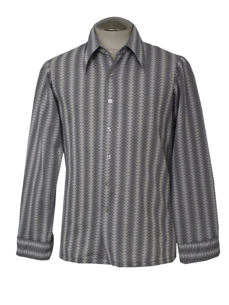 70s -Scene- Mens greys and whites polyester disco shirt with diamond ...