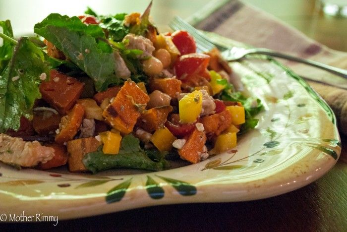 kale salad with chicken and sweet potato recipes dishmaps turkey kale ...