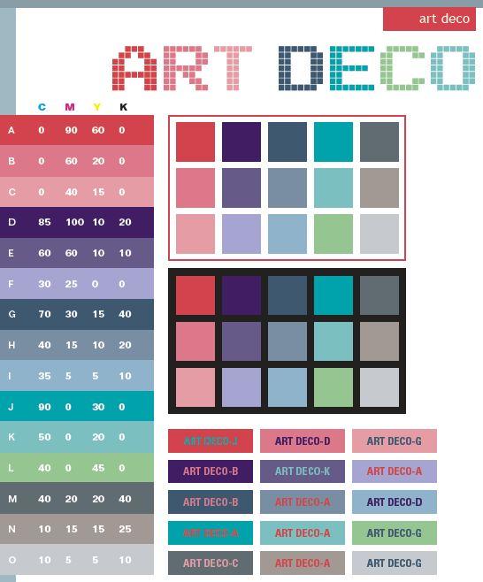 Art deco color scheme examples for color seminars for Art deco interior paint colors