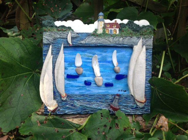 Pebble and beach glass art. See Sticks 'n Stones Rustic Art on FB!