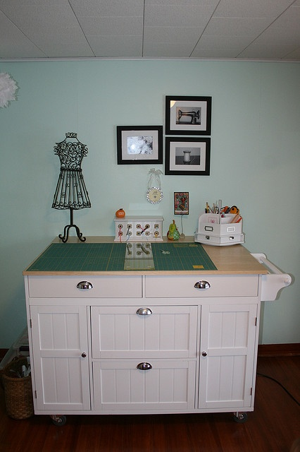 Kitchen island used as a cutting table sewing quilting crafting