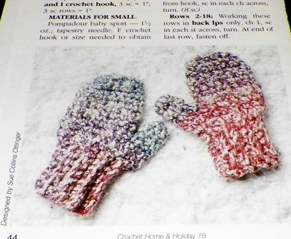 Crochet Childrens Kids Mittens Instructions Vintage 1990s Out of Print