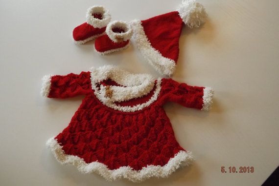 Knitting Pattern Baby Santa Dress Christmas Outfit Hat and Booties Sh?