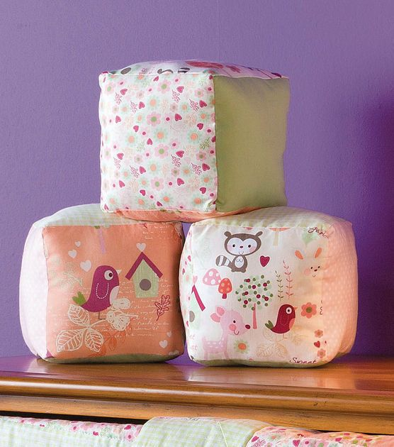 Sew a few nursery blocks for cute decorations in a baby's room!