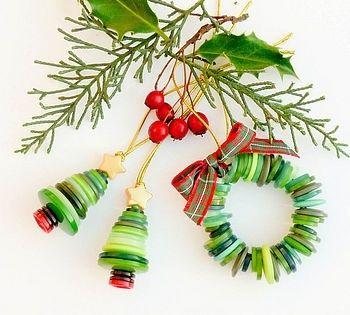 Button Christmas Tree Ornaments Craft Ideas Pinterest