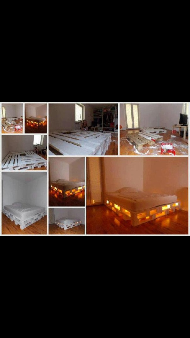 Pallet bed with lights repurpose wooden pallets for Pallet bed with lights