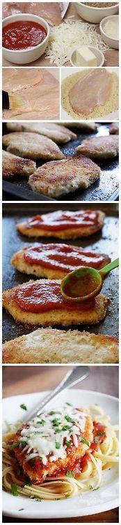 Baked Chicken Parmesan Step By Step , Make sure u save enough marinara ...