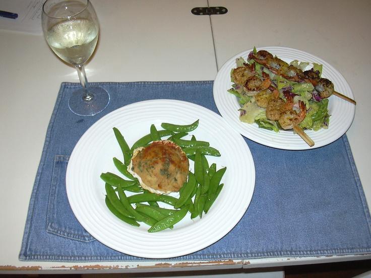 Seared Shrimp & Ceasar Salad with Stuffed Scallops & Sugar Snap Peas ...